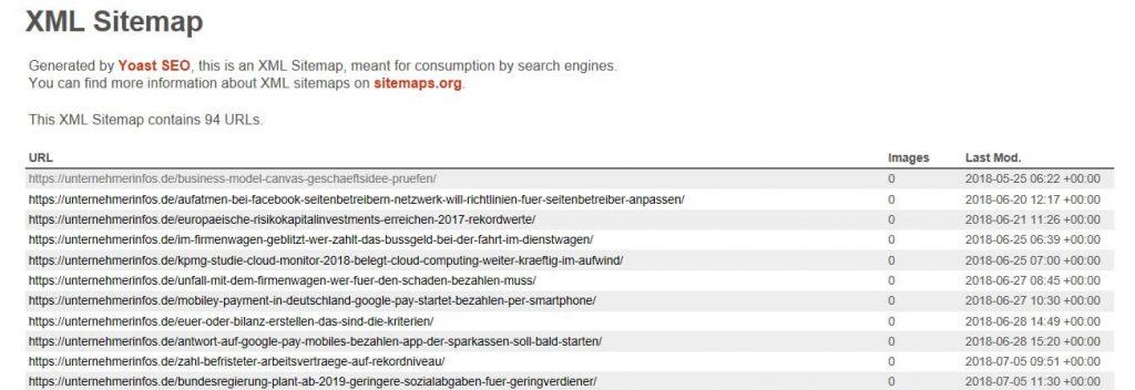 Screenshot XML-Sitemap Einzelbeiträge UnternehmerInfos.de