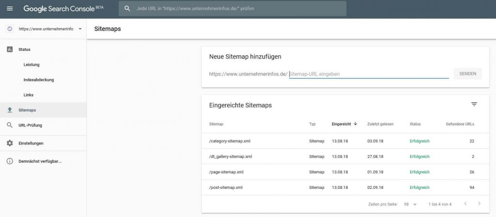 Screenshot XML-Sitemap in Search Console