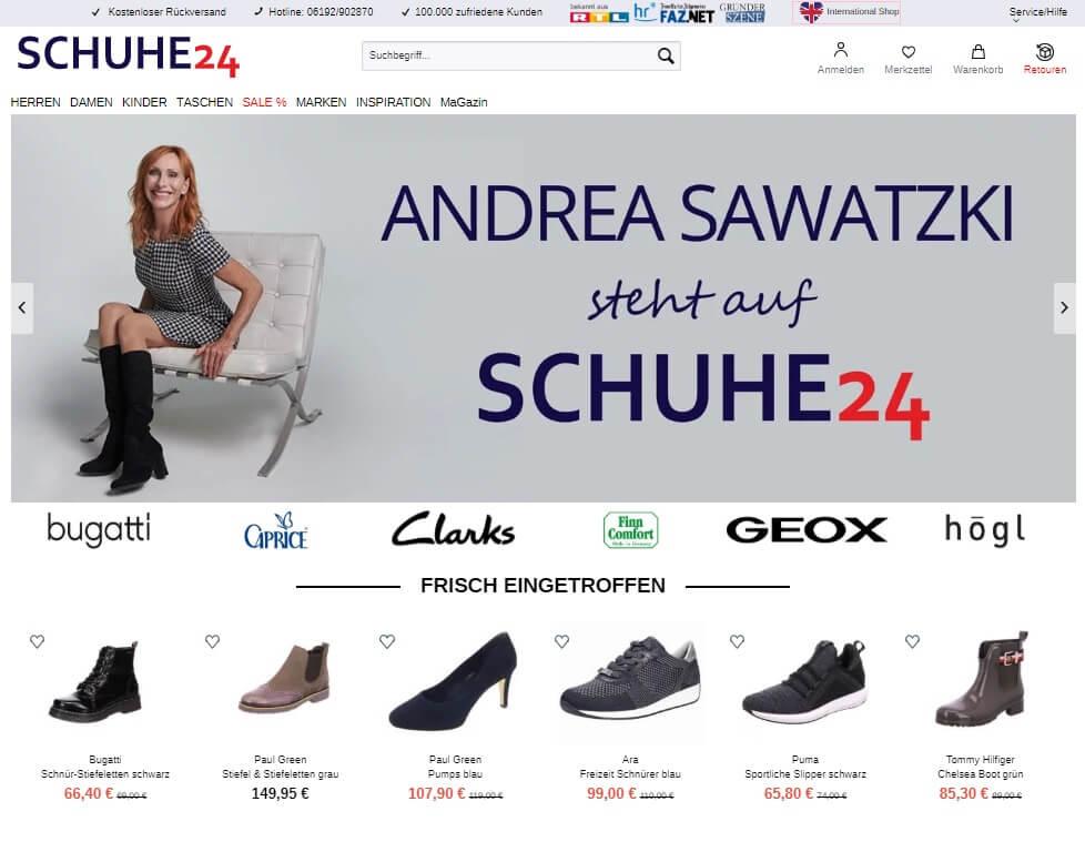 Screenshot Schuhe24.de