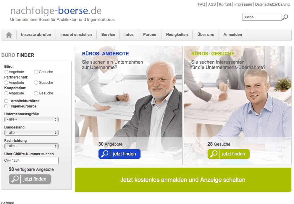 Screenshot Nachfolge-Börse